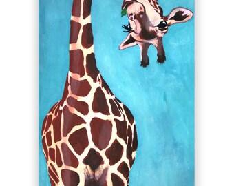 Holiday Giraffe ORIGINAL PAINTING handpainted,giraffe art, giraffe painting, giraffe love, Merry Everything, Happy Always,Joy Peace and Love