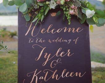 Rose Gold Wedding Welcome Sign,  Wedding Reception Sign, Rose Gold Wedding Sign, Navy wedding sign - The Kathleen by Miss Design Berry