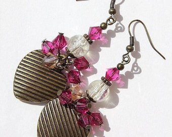 """Glass and Crystal beads and earrings in bronze with hearts: """"Little hearts at the party"""""""