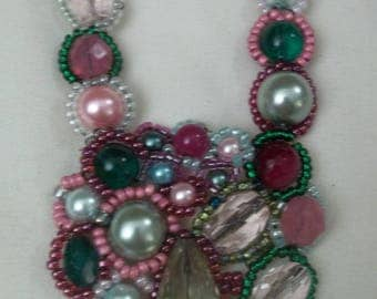 Mosaic bead necklace in pinks and greens