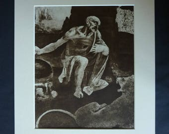 Vintage Leonardo da Vinci Print, St Jerome in the Wilderness Gift, Saint Decor, Available Framed, Syria Art, Renaissance Wall Art, Hermit