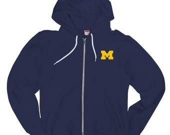 Michigan Wolverines Primary Logo Left Chest American Apparel Zip Hoodie