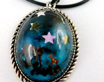necklace, resin, deers, gothic, goth