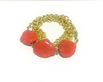Coral Slab Gold Wrap Bracelet