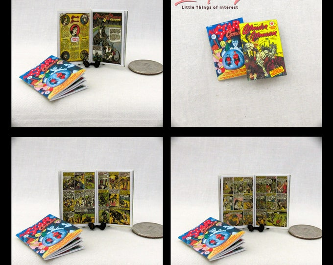 2 WONDER WOMAN Comic Books Dollhouse Miniatures Book 1:12 Scale Books Diana Prince Princess Diana of Themyscira DC Comics