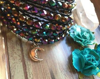 Eclipse Moon Bracelet- Woven Bracelet- Eclipse Bracelet- Meditation Bracelet- Beaded Bracelet- Crystal Bracelet- Antique Button Bracelet
