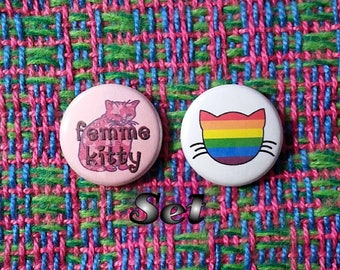 Femme Kitty Buttons - Set of 2