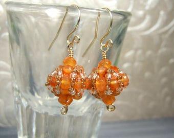 Carnelian Earrings Orange Earrings Genuine Gemstone Drop Earrings 14k Gold Filled Beadwork Jewelry Carnelian Jewelry Dainty Earrings Unique
