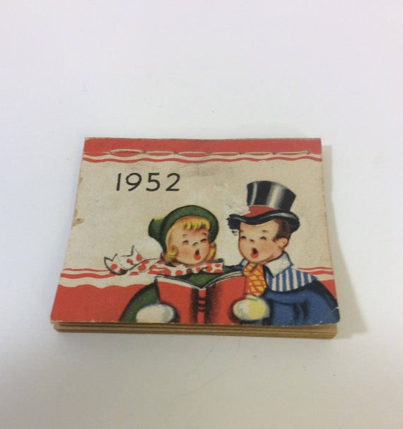 Vintage 1952 mini calendar, super tiny and cute mid century calendar, great for the miniature collector or calendar collector, gift ideas