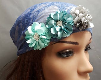 Jeans Blue Head Scarf, Blue Tichel With Flowers , Chemo Hat  , Snood , Chemo Scarf , Lace Hair Covering , Head Cover , Blue Headwear , Sinar
