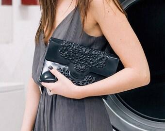 Stunning black clutch / serious arm candy / shiny vinyl clutch / slim envelope shape / perfect evening bag / 100% handmade & vegan