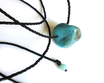 Blue Chrysocolla and Black Threads Pendant handmade with natural Chrysocolla stone Réf.PenPe02