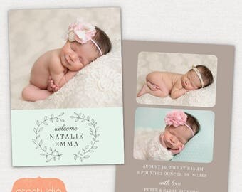 Birth Announcement Template - Pencil Laurel CB032 5x7 card - INSTANT DOWNLOAD