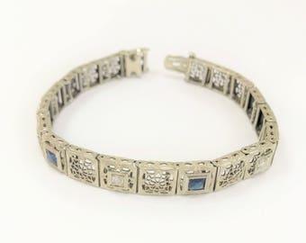 Antique - Art Deco Filigree Sapphire & Diamond Bracelet - 14 karat white gold