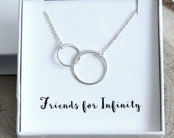 Best Friends Necklace, Friendship Necklace, Gift for Best Friend, Sterling Silver 2 Rings Necklace, Valentines Gift for Friend, Gift for Her
