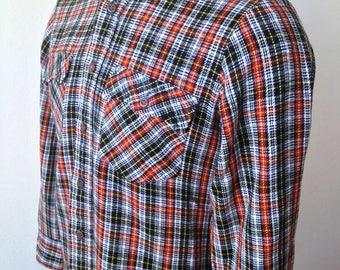 Vintage MENS 1970s J.C. Penney The Men's Shop red, white, black & yellow plaid flannel shirt, size M
