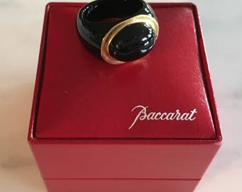 Rare Black Crystal Baccarat Vintage Ring