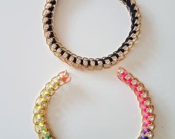 Gold, Black / Blue, Green, Yellow And Pink Choker Collar, Metal Choker, Fabric Choker With Diamante Swarovski Crystal - 200317A116A/B