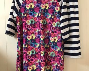 Plus Size Ladies Modest Swim Top/Raglan Style/ Top only/ Skirt sold separately/ Please allow 3 weeks for processing before shipment