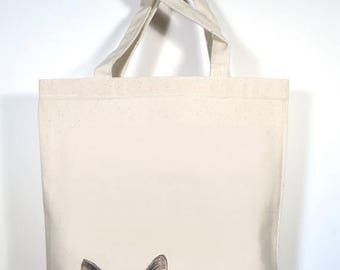 Cat Tote, Tabby Cat Canvas Tote, Personalized School Bag, Beach Tote