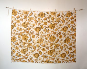 70s mustard yellow floral thick cotton tablecloth