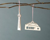 CN Tower and Sky Dome Ornaments- Lasercut Birch (set of 2)