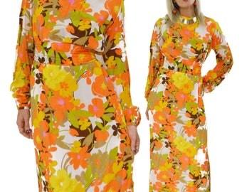 Vintage 70s Floral Multicolor Hippie Boho Maxi Dress