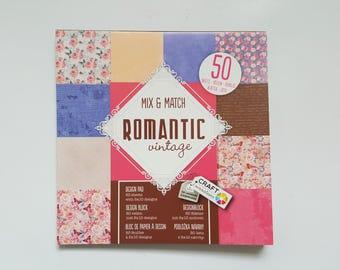 Paperpad 50 Sheets - Scrapbook Paper - Design Paper Pad - Romantic Vintage - Butterflies Birds Roses Flowers - Pink Blue - 6x6 Paper Pad