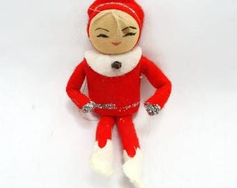 Vintage Pixie Elf Christmas Ornament Vintage Felt Elf Knee Hugger Cute Pixie Elf Shelf Sitter