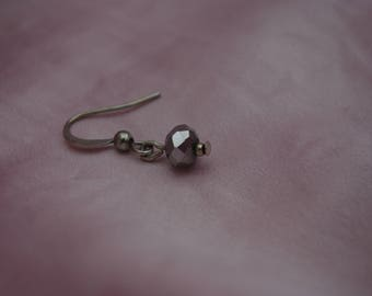 Metallic Grey Glass Jewel Sterling Silver Drop Earrings