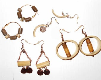 Lot pierced earrings handmade 2000 bamboo and shells 4 pairs natural sourced woodland