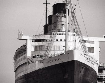 The Queen Mary, Long Beach California Photo, Black and White Photography, Black & White Picture - Limited Edition Photo Print