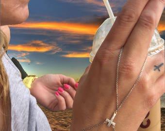 Sterling Silver Hand Harness Cross Harness Cross Ring Harness Skull finger Harness Bracelet Ring finger Harness Cross Bracelet Cross Harness