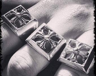 Sterling Silver Handmade Cross Ring Crucifix Ring Trinity Ring Antique Ring Cross Ring Silver Cross Ring Gold Cross Ring Silver Cross Ring