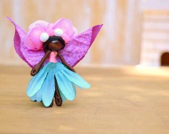 Miniature Fairy Doll - miniature fairies, flower fairy doll, flower fairies, black fairy doll, black fairies, waldorf fairy doll, pixie