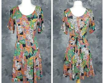 90s print rayon summer sundress, short sleeve, scoop neck, cinched waist pull over dress, Concept II, medium