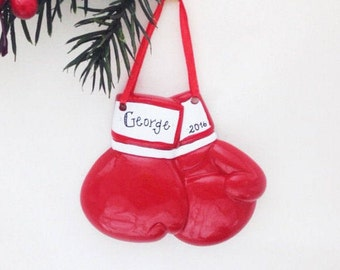 Boxing Gloves Personalized Christmas Ornament / Boxing Ornament / Boxer Ornament