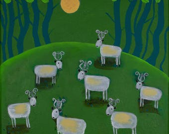 Green Painting, Naive Animal Painting, Summer Spring Landscape, Music Art, Animal Art, Countryside, Sheep Artwork, Lyre, Nature Painting
