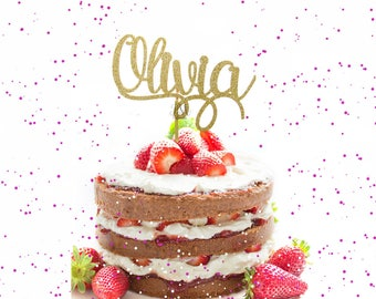 Custom Glitter Name Cake Topper  - Custom Name cake topper, birthday, birthday cake decor, glitter cake topper, gold glitter cake topper