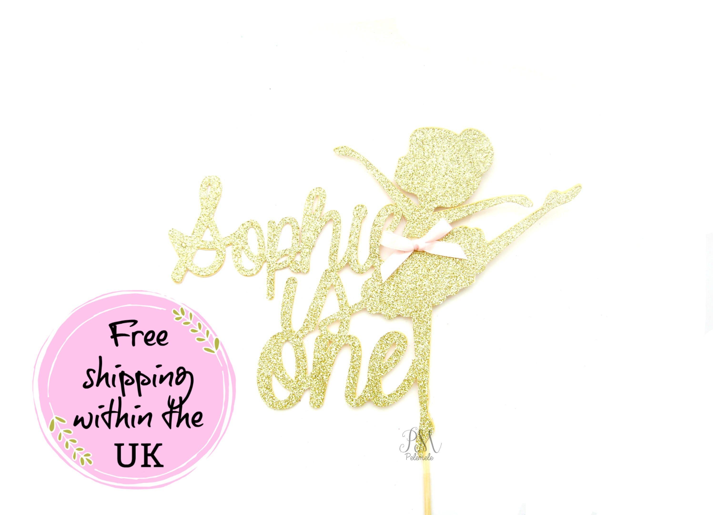 Custom Name Glitter Ballerina Cake Topper Girls Birthday Cake