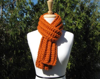 Chunky Pumpkin Orange Scarf, Hand Knit Wool Scarf, Bright Orange Thick Warm Scarf, Orange Ribbed Scarf, Unisex Orange Scarf, Made to Order