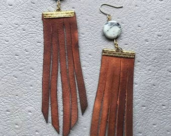 JASPER // brown leather fringe earrings