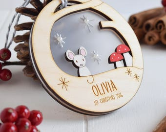 Mouse baby's First Christmas bauble - Baby's bauble - first christmas - Tree decoration
