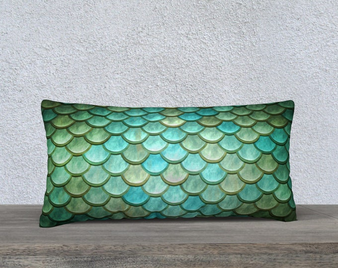 green and blue mermaid scales pillow case size 24x12 inches
