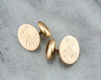 Antique Rose Gold Cufflink, Monogramed Victorian Cufflinks, Victorian Cufflink, Antique Gold Cufflinks HHKC0U-D