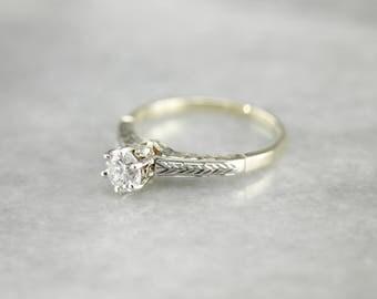 Stunning Engraved Diamond Solitaire, Vintage Diamond Engagement Ring, Two Tone Diamond Ring N2XAQL-P