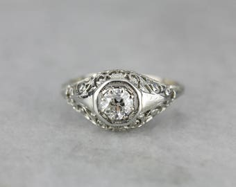 Art Deco Diamond Solitaire White Gold Filigree Engagement Ring ZM04JY-R