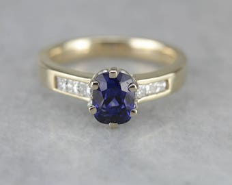 Classic Royal Blue Sapphire Engagement Ring, Sapphire Engagement, Anniversary Ring 810618-N