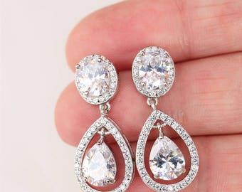 Set of 3,4,5 Art Deco Earrings, Bridal Earrings, Wedding Earrings, Bridal Jewelry ,Crystal Teardrop Earrings ,Bridesmaid gift set