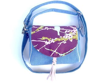 Ready to Ship Bird on Branches Saddle Bag with Removable and Adjustable Cross body Strap and Glitter Vinyl Tassel - Denim Saddle Bag